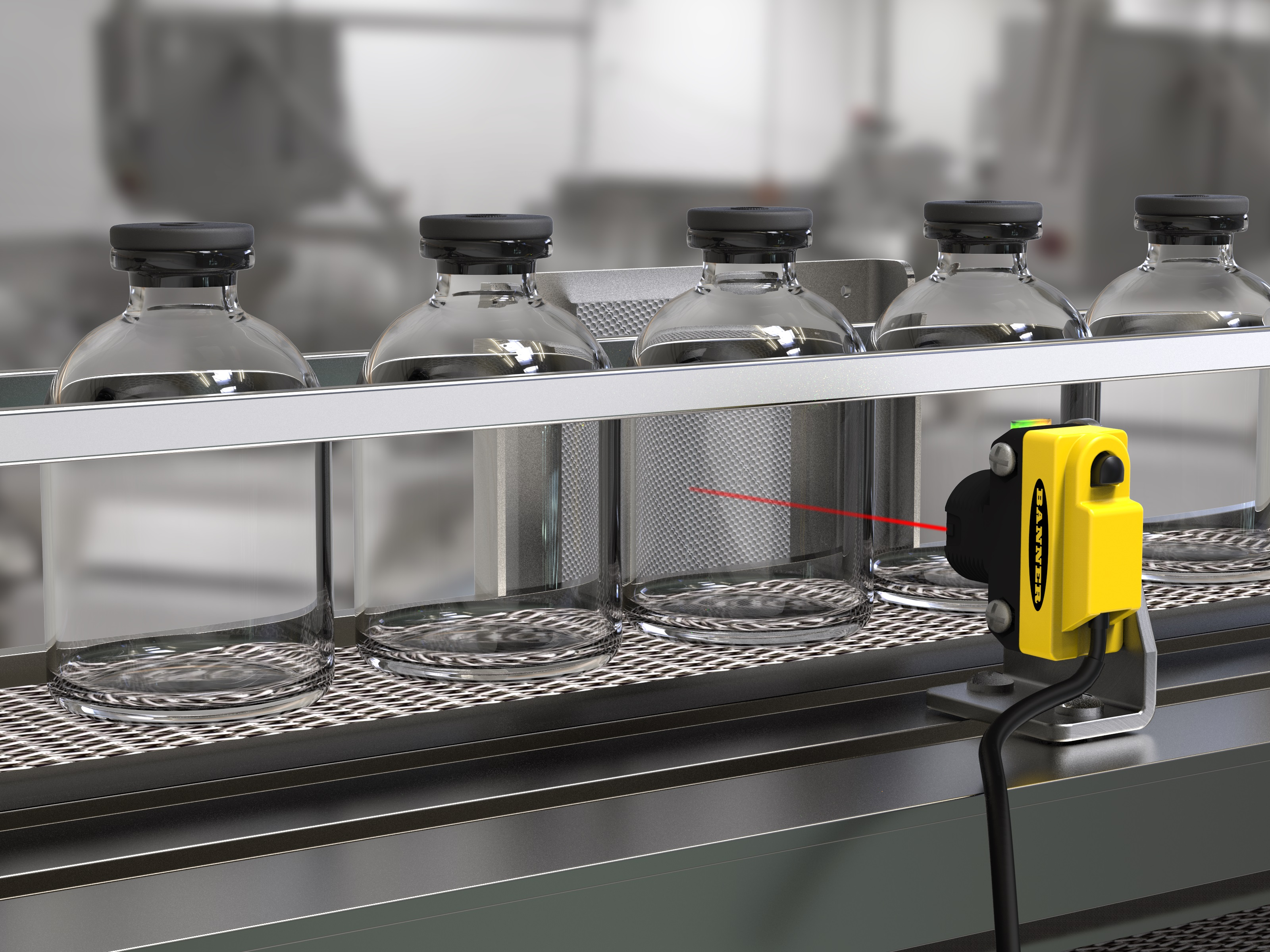 Banner QS18 for Tracking Clear Bottles and Microplates
