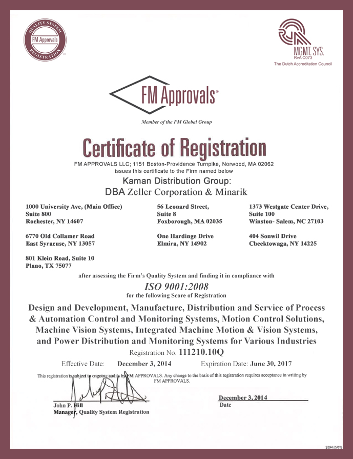 Iso Certifications Kaman Automation